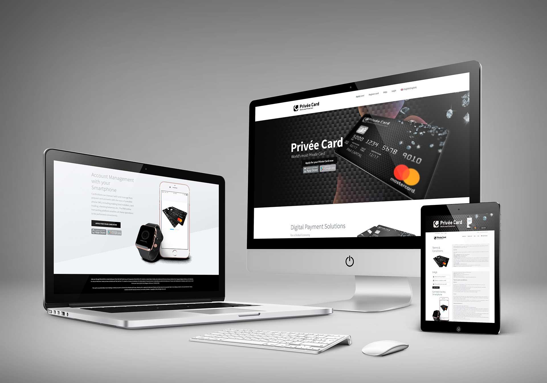 Privée Card – Online Kreditkarten Landingpage